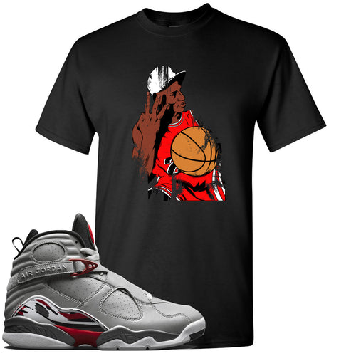 Air Jordan 8 Reflections of a Champion Sneaker Match Three Finger Jordan Distressed Vintage Black T-Shirt