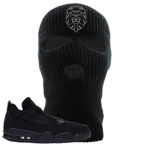 Air Jordan 4 Black Cat Cyber Lion Black Made to Match Ski Mask