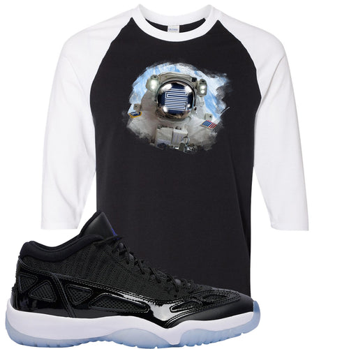 Air Jordan 11 Low IE Space Jam Sneaker Match Astronaught Black and White Raglan T-Shirt