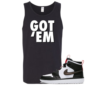 Air Jordan 1 High React White Black Sneaker Hook Up Got Em Black Mens Tank Top