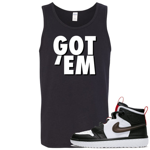 Air Jordan 1 High React White Black Sneaker Match Got Em Black Mens Tank Top