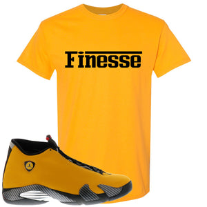 Reverse Ferrari 14s Sneaker Hook Up Finesse Ferrari Gold Yellow T-Shirt