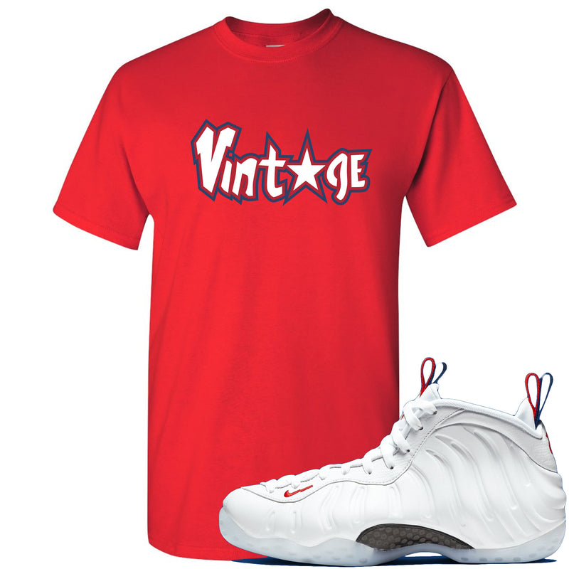 Nike WMNS Air Foamposite One USA Sneaker Hook Up Vintage Star Red T-Shirt