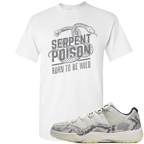Air Jordan 11 Low Snakeskin Light Bone Sneaker Match Serpent Poison Snake White T-Shirt