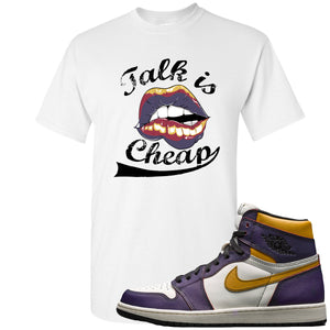 Nike SB x Air Jordan 1 OG Court Purple Sneaker Hook Up Talk is Cheap White T-Shirt