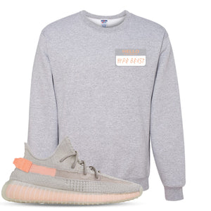 Yeezy Boost 350 True Form V2 Sneaker Hook Up Hello My Name Is Hype Beast Woe Heathered Light Gray Crewneck Sweater