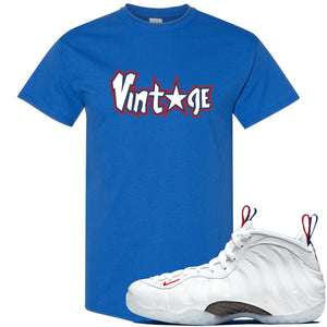 Nike WMNS Air Foamposite One USA Sneaker Hook Up Vintage Star Royal Blue T-Shirt