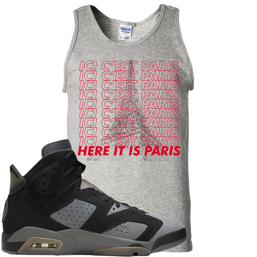 Air Jordan 6 PSG Sneaker Match Ici C'est Paris Sports Grey Mens Tank Top