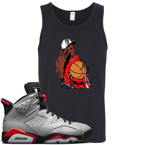Air Jordan 6 Reflections of a Champion Sneaker Match Three Finger Jordan Distressed Vintage Black Mens Tank Top