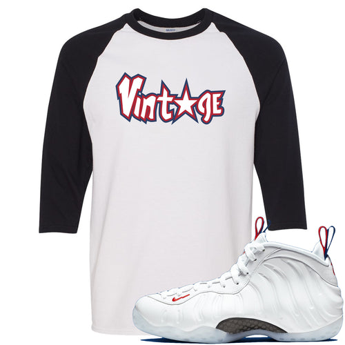 Nike WMNS Air Foamposite One USA Sneaker Match Vintage Star White and Black Raglan T-Shirt