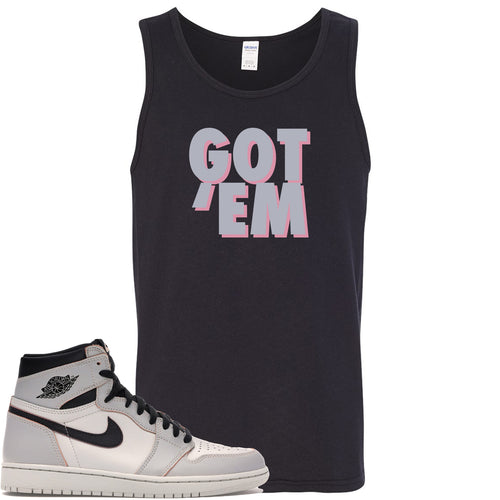Nike SB x Air Jordan 1 Retro High OG Light Bone Sneaker Match Got Em Black Mens Tank Top