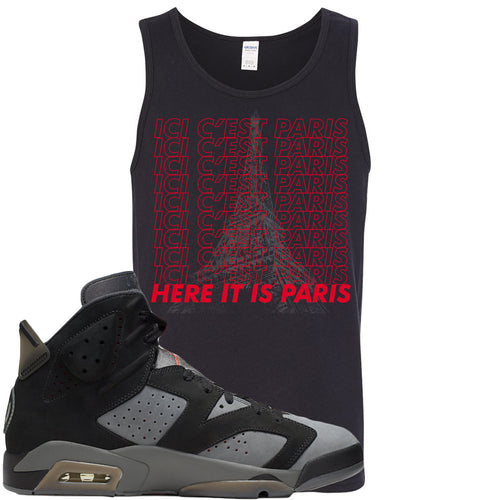 Air Jordan 6 PSG Sneaker Match Ici C'est Paris Black Mens Tank Top