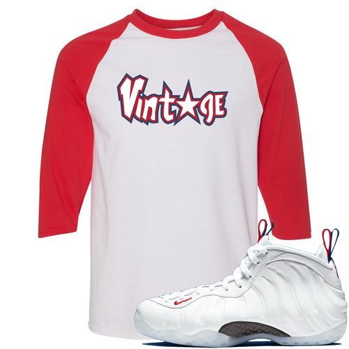 Nike WMNS Air Foamposite One USA Sneaker Match Vintage Star White and Red Raglan T-Shirt
