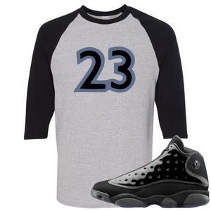 Air Jordan 13 Cap and Gown Sneaker Hook Up 23 Black and Sports Grey Ragalan T-Shirt