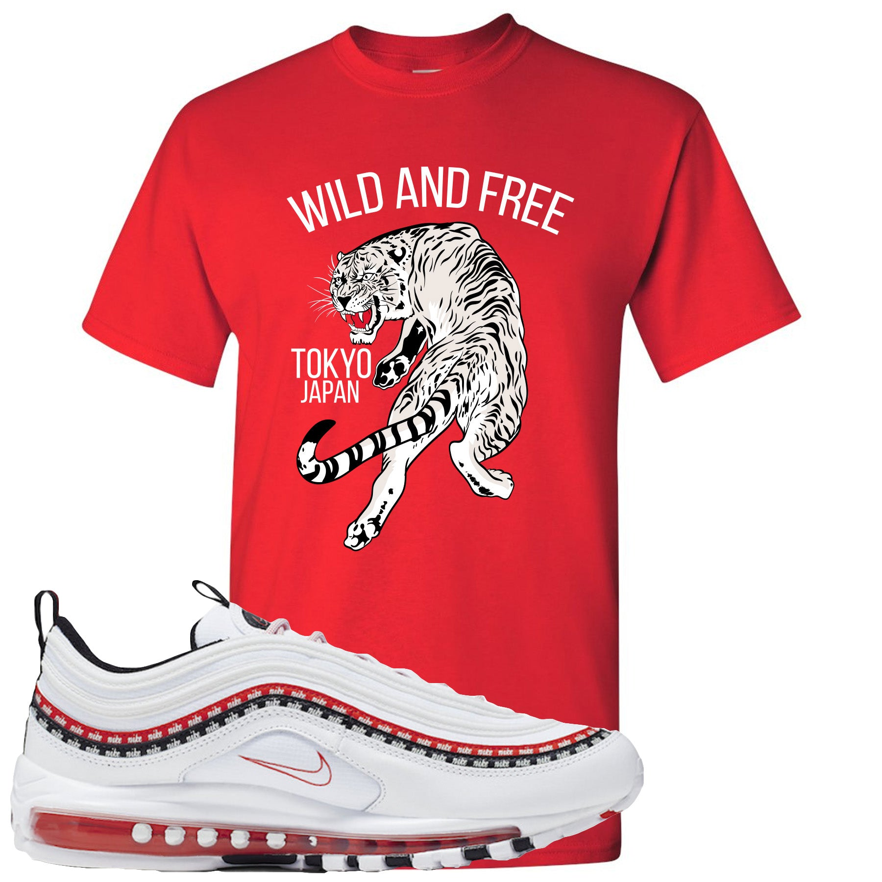 Nike Air Max 97 White University Red Sneaker Match Tiger Black Hoodie