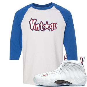 Nike WMNS Air Foamposite One USA Sneaker Hook Up Vintage Star White and Blue Raglan T-Shirt