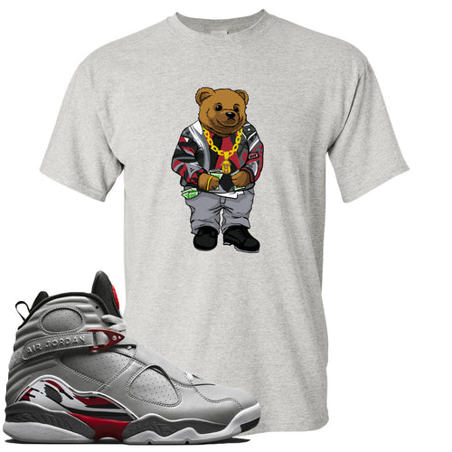 Air Jordan 8 Reflections of a Champion Sneaker Match Biggie Bear Light Gray T-Shirt
