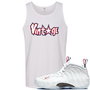 Nike WMNS Air Foamposite One USA Sneaker Hook Up Vintage Star White Mens Tank Top