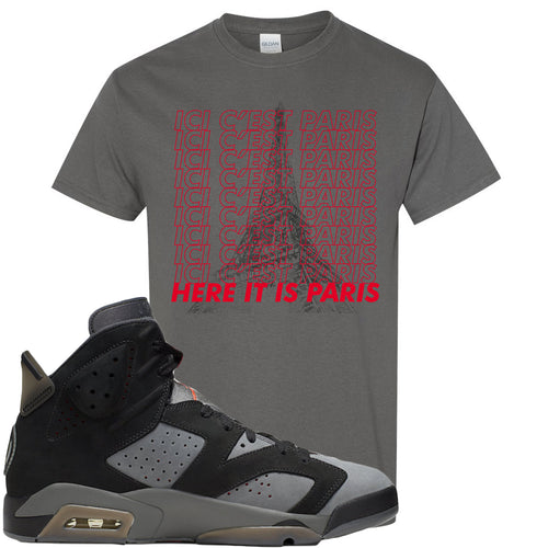 Air Jordan 6 PSG Sneaker Match Ici C'est Paris Charcoal Grey T-Shirt