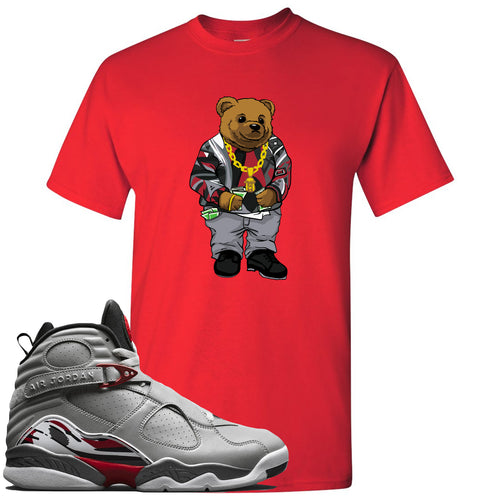 Air Jordan 8 Reflections of a Champion Sneaker Match Biggie Bear Red T-Shirt
