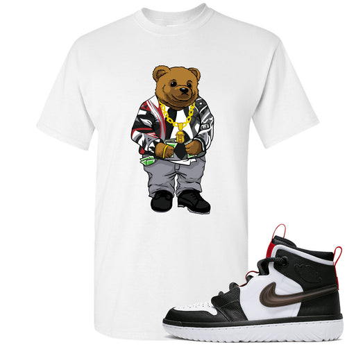 Air Jordan 1 High React White Black Sneaker Match Biggie Bear White T-Shirt