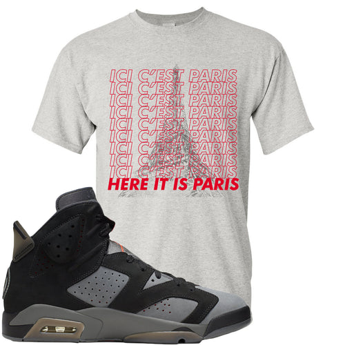 Air Jordan 6 PSG Sneaker Match Ici C'est Paris Sports Grey T-Shirt