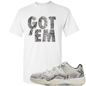 Air Jordan 11 Low Snakeskin Light Bone Sneaker Hook Up Got Em White T-Shirt
