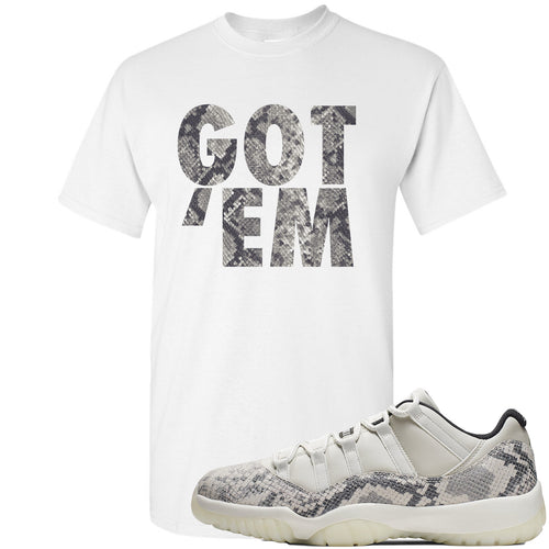 Air Jordan 11 Low Snakeskin Light Bone Sneaker Match Got Em White T-Shirt