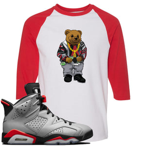 Air Jordan 6 Reflections of a Champion Sneaker Hook Up Sweater Bear White and Red Raglan T-Shirt