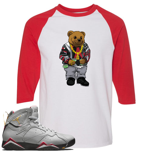 Air Jordan 7 Reflections of a Champion Sneaker Match Biggie Bear White and Red Raglan T-Shirt