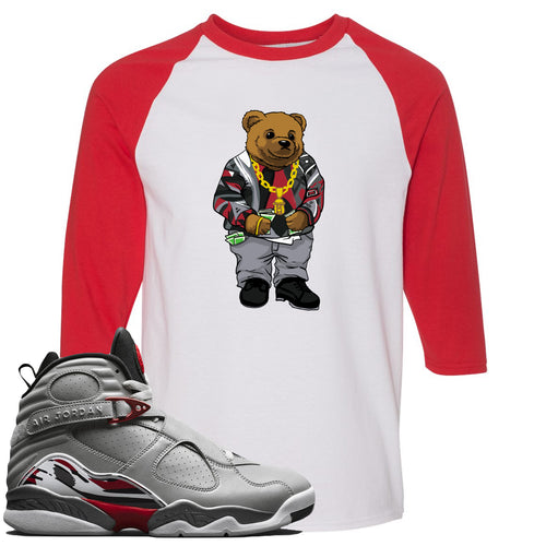 Air Jordan 8 Reflections of a Champion Sneaker Match Biggie Bear White and Red Raglan T-Shirt