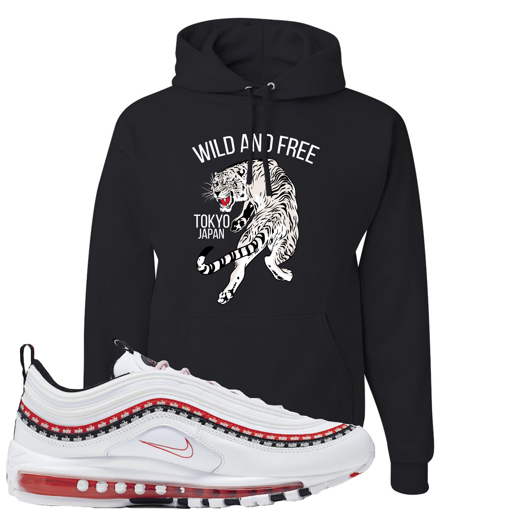 hot-selling discount release date: choose clearance Nike Air Max 97 White University Red Sneaker Match Tiger Black Hoodie