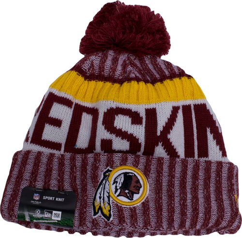 info for 92015 e8dd3 spain new era on field sport knit game hat c1cac 0dc82  authentic the 2017  nfl sideilne washington redskins beanie is red white and yellow 30c2e 02e81
