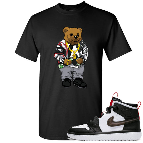 Air Jordan 1 High React White Black Sneaker Match Biggie Bear Black T-Shirt