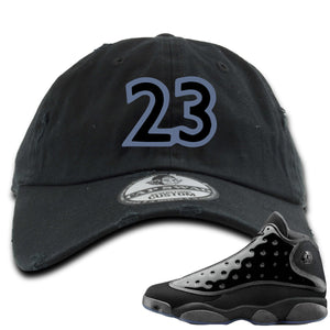Air Jordan 13 Cap and Gown Sneaker Hook Up 23 Black Distressed Dad Hat