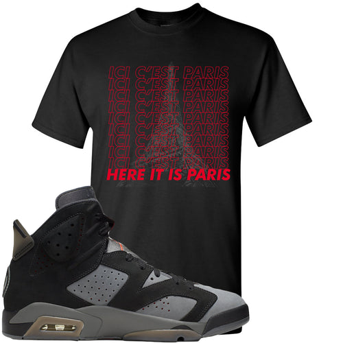 Air Jordan 6 PSG Sneaker Match Ici C'est Paris Black T-Shirt
