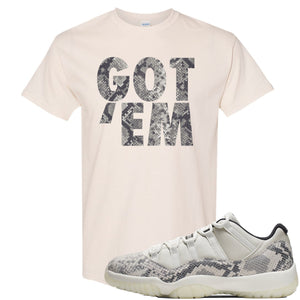 Air Jordan 11 Low Snakeskin Light Bone Sneaker Hook Up Got Em Natural T-Shirt