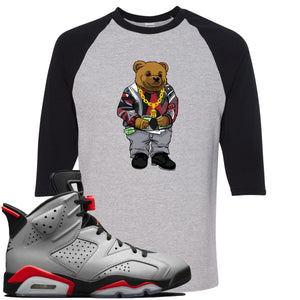 Air Jordan 6 Reflections of a Champion Sneaker Hook Up Sweater Bear Sports Gray and Black Raglan T-Shirt