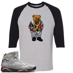 Air Jordan 7 Reflections of a Champion Sneaker Hook Up Sweater Bear Sports Gray and Black Raglan T-Shirt