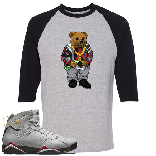 Air Jordan 7 Reflections of a Champion Sneaker Match Biggie Bear Sports Gray and Black Raglan T-Shirt