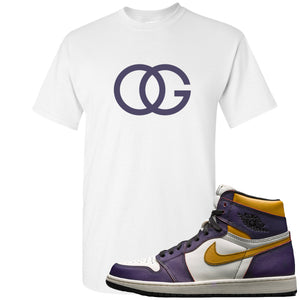 Nike SB x Air Jordan 1 OG Court Purple Sneaker Hook Up OG Logo White T-Shirt