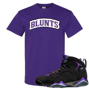 Air Jordan 7 Ray Allen Sneaker Hook Up Blunts Logo Purple T-Shirt