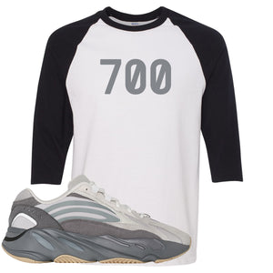 "Adidas Yeezy Boost 700 V2 Tephra Sneaker Hook Up ""700"" White and Black Raglan T-Shirt"