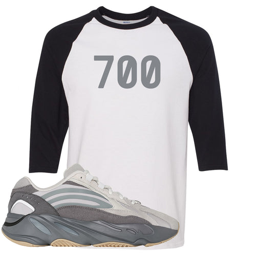 "Adidas Yeezy Boost 700 V2 Tephra Sneaker Match ""700"" White and Black Raglan T-Shirt"
