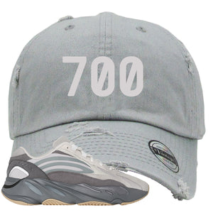 "Adidas Yeezy Boost 700 V2 Tephra Sneaker Hook Up ""700"" Light Gray Distressed Dad Hat"