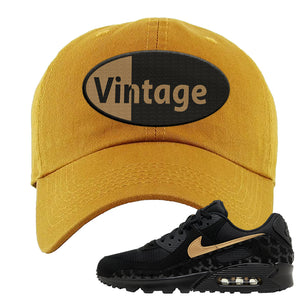 Air Max 90 Black Gold Dad Hat | Vintage Oval, Wheat