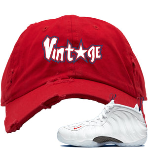 Nike WMNS Air Foamposite One USA Sneaker Hook Up Vintage Star Red Distressed Dad Hat