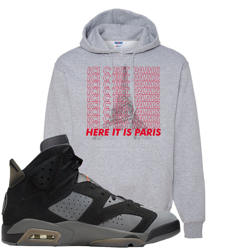 Air Jordan 6 PSG Sneaker Match Ici C'est Paris Sports Grey Hoodie