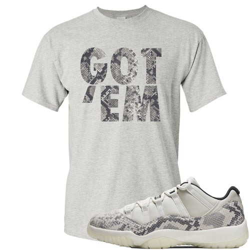 Air Jordan 11 Low Snakeskin Light Bone Sneaker Match Got Em Sports Gray T-Shirt