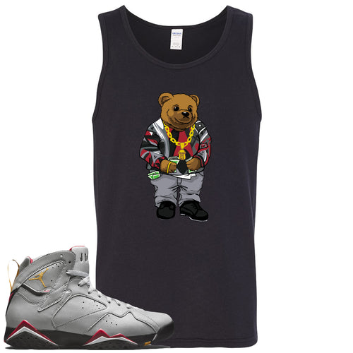 Air Jordan 7 Reflections of a Champion Sneaker Match Biggie Bear Black Mens Tank Top